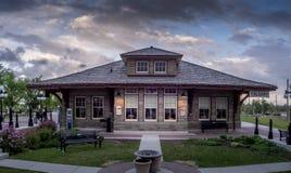 Vieja estación de tren en el parque de la herencia Foto de archivo libre de regalías