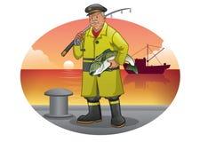 Vieja historieta del pescador con la chaqueta amarilla libre illustration