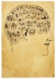 Vieja ilustración de la frenología Imagen de archivo