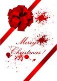 Vieja ilustración de la Navidad de una cinta roja ilustración del vector