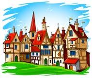 Vieja ilustración europea del vector de la ciudad