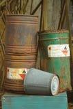 Vieja inflamabilidad química del tanque. Fotos de archivo libres de regalías