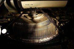 Vieja inscripción en una máquina de escribir Foto de archivo libre de regalías