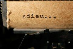 Vieja inscripción en una máquina de escribir Imagen de archivo libre de regalías