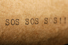 Vieja inscripción en una máquina de escribir Fotos de archivo