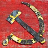Vieja insignia del martillo y de la hoz del cccp Foto de archivo
