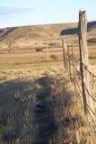 Vieja línea de cerca del alambre de púas Fotografía de archivo