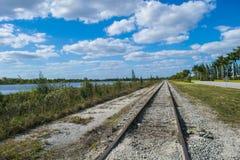 Vieja línea ferroviaria Imágenes de archivo libres de regalías