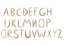 Vieja letras dibujadas del alfabeto de la cuerda mano de A a T stock de ilustración