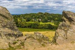 Vieja locura de Juan en el parque de Bradgate, Leicestershire que mira hacia Warren Hill foto de archivo