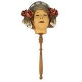 Vieja máscara del geisha con la manija para Halloween Imágenes de archivo libres de regalías
