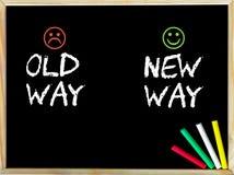 Vieja manera contra nuevo mensaje de la manera con las caras tristes y felices del emoticon Foto de archivo libre de regalías