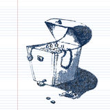 Vieja mano del cofre del tesoro del pirata que dibuja bosquejo artístico del lápiz Ejemplo en estilo del garabato en el libro de  Fotos de archivo libres de regalías