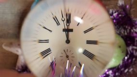 Vieja medianoche de la demostración del reloj Fotografía de archivo