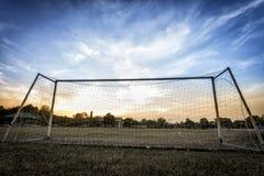 Vieja meta del fútbol foto de archivo libre de regalías
