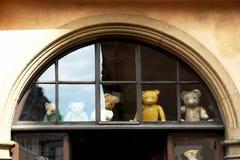 Vieja mirada de los osos de peluche a través de la ventana imagen de archivo libre de regalías