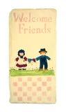 Vieja muestra agradable del arte popular de los amigos Foto de archivo libre de regalías