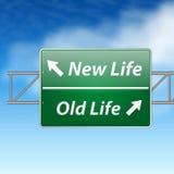 Vieja muestra de camino de la vida de la nueva vida Imagen de archivo libre de regalías
