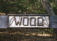 Vieja muestra de madera de abedul Imagen de archivo libre de regalías