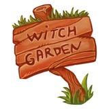 Vieja muestra de madera que dice el jardín de la bruja Ejemplo mágico de la historieta linda Brujería de Wicca libre illustration