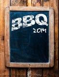 Vieja muestra de publicidad del Bbq del grunge Imagen de archivo libre de regalías