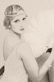 Vieja mujer del estilo de los años 20 de la foto Fotografía de archivo libre de regalías