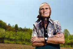 Vieja mujer del granjero Foto de archivo libre de regalías