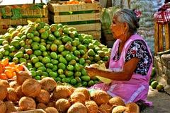 Vieja mujer mexicana que vende las frutas en el mercado Imagen de archivo