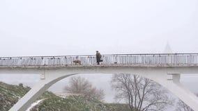 Vieja mujer sola que camina en el puente con el perro en nevadas del invierno almacen de metraje de vídeo