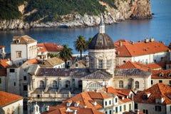 Vieja opinión de la ciudad de Dubrovnik Fotografía de archivo