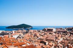 Vieja opinión de la ciudad de Dubrovnik Fotos de archivo libres de regalías