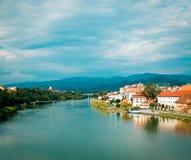 Vieja opinión de la ciudad de Maribor Eslovenia, Europa Fotografía de archivo