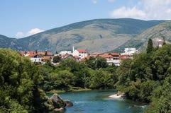 Vieja opinión de la ciudad de Mostar, Bosnia y Herzegovina Fotografía de archivo libre de regalías