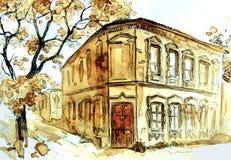 Vieja opinión de la ciudad Paisaje urbano del otoño ilustración del vector