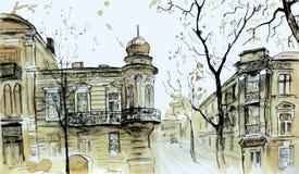Vieja opinión de la ciudad Paisaje urbano del otoño libre illustration