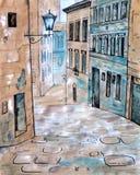 Vieja opinión de la ciudad Paisaje urbano europeo stock de ilustración