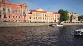 Vieja opinión de St Petersburg del terraplén Fotografía de archivo