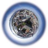 Vieja opinión del horizonte de la ciudad de Riga desde arriba Imagenes de archivo