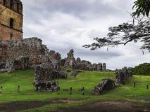 Vieja oude Spaanse die stad van La van Panama door piraten wordt vernietigd stock foto's
