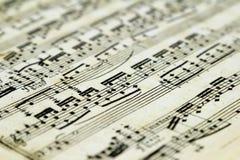 Vieja partitura con las notas Fotos de archivo libres de regalías