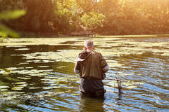 Vieja pesca del pescador en un lago o un río con una caña de pescar en un día soleado Hombre que se coloca en el agua Foto de archivo libre de regalías