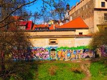 Vieja pintada de la ciudad en la pared Imágenes de archivo libres de regalías