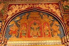 Vieja pintura agradable que se llama pintura del tanjore en el pasillo dharbar del pasillo del ministerio del palacio del maratha Imágenes de archivo libres de regalías