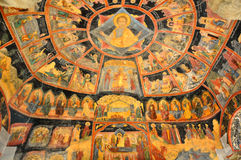 Vieja pintura de pared ortodoxa de los iconos fotografía de archivo