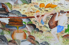 Vieja pintura en la fortaleza de Bodrum Fotos de archivo