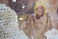 Vieja pintura mural en las ruinas de la iglesia Foto de archivo libre de regalías