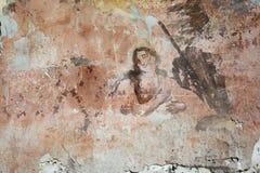 Vieja pintura mural en las ruinas de la iglesia Imagen de archivo libre de regalías