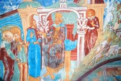 Vieja pintura religiosa Iglesia del Saint Nicolas en Yaroslavl, Rusia stock de ilustración