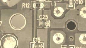 Vieja placa de circuito de la película - componentes microelectrónicos almacen de video