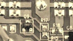 Vieja placa de circuito de la película - componentes microelectrónicos metrajes